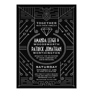 Invitaciones de la bodas de plata del negro del invitación 12,7 x 17,8 cm