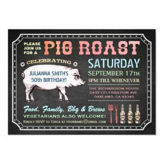 Invitaciones de la carne asada del cerdo de la invitación 12,7 x 17,8 cm