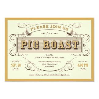 Invitaciones de la carne asada del cerdo del invitación personalizada