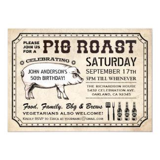 Invitaciones de la carne asada del cerdo del invitación 12,7 x 17,8 cm