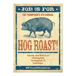 Invitaciones de la carne asada del cerdo invitación 12,7 x 17,8 cm