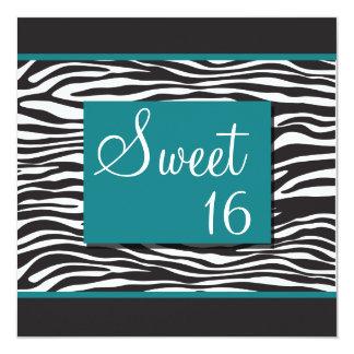 Invitaciones de la cebra de la turquesa del dulce invitación 13,3 cm x 13,3cm