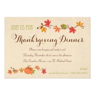 Invitaciones de la cena de la acción de gracias invitaciones personalizada
