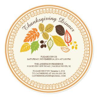 Invitaciones de la cena de la acción de gracias invitación 13,3 cm x 13,3cm