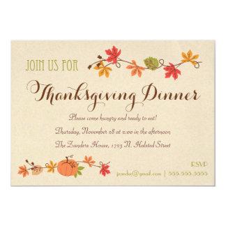Invitaciones de la cena de la acción de gracias invitación 12,7 x 17,8 cm
