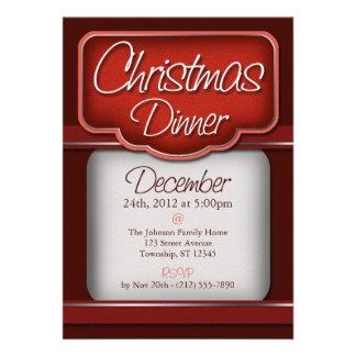 Invitaciones de la cena de navidad del terciopelo