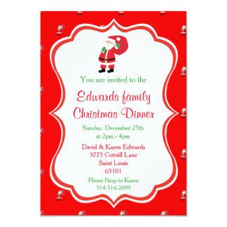 Invitaciones de la cena de navidad - Santa Invitación 12,7 X 17,8 Cm