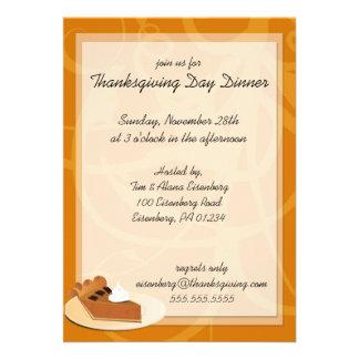 Invitaciones de la cena del día de la acción de gr comunicado personal