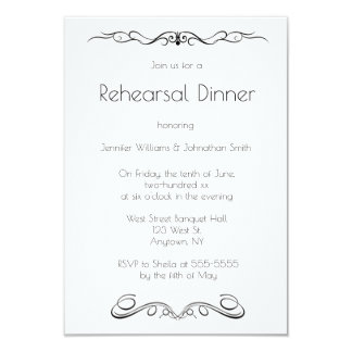 Invitaciones de la cena del ensayo de las vides invitación 8,9 x 12,7 cm