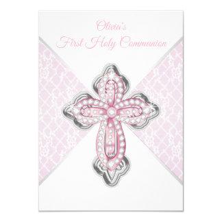 Invitaciones de la comunión de la cruz rosada del