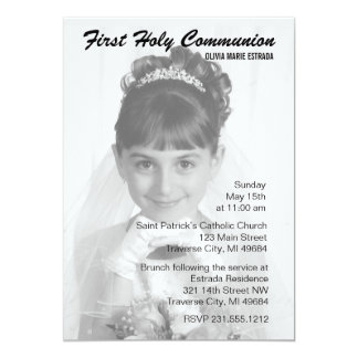 Invitaciones de la comunión de la foto de la capa invitación 12,7 x 17,8 cm