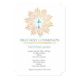 Invitaciones de la comunión del muchacho de la invitación 12,7 x 17,8 cm