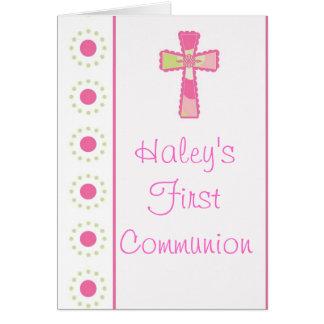 Invitaciones de la comunión o del bautizo del tarjeta de felicitación