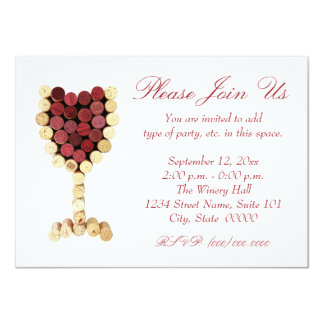 Invitaciones de la copa de vino del corcho invitación 11,4 x 15,8 cm