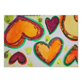 Invitaciones de la dicha rosada de los corazones invitación 8,9 x 12,7 cm