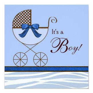 Invitaciones de la ducha del bebé de la cebra de invitación 13,3 cm x 13,3cm