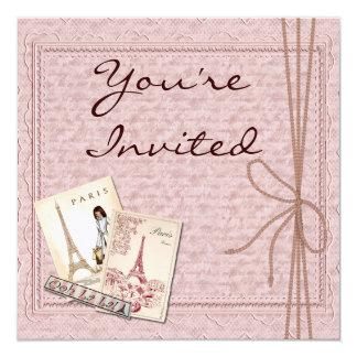 Invitaciones de la ducha del tema de París Invitación 13,3 Cm X 13,3cm