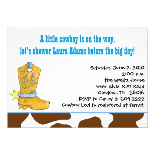 Invitaciones de la ducha del vaquero del bebé comunicado personalizado