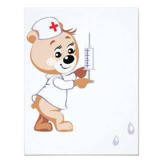 Invitaciones de la enfermera del oso de peluche invitación 10,8 x 13,9 cm