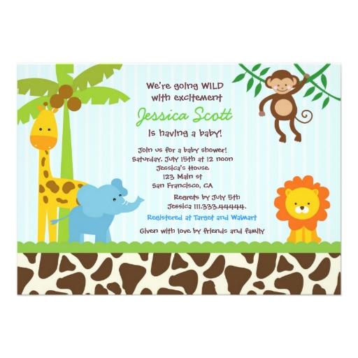 Invitaciónes de baby shower de animalitos de la selva - Imagui