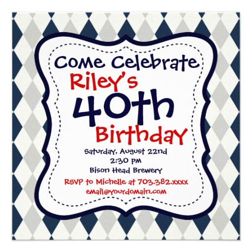 Invitaciones de la fiesta de cumpleaños de Argyle  Anuncios Personalizados