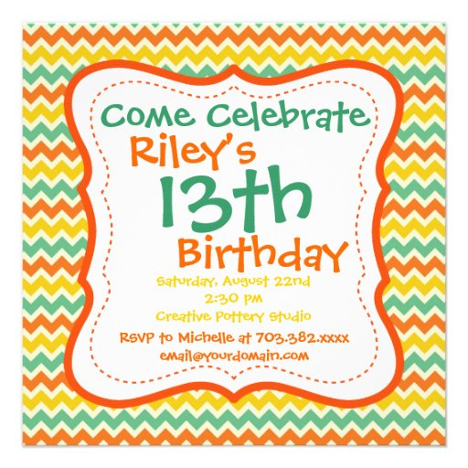 Invitaciones de la fiesta de cumpleaños de Chevron Invitacion Personalizada