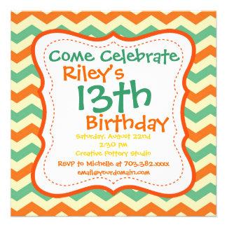 Invitaciones de la fiesta de cumpleaños de Chevron Invitación Personalizada