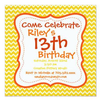 Invitaciones de la fiesta de cumpleaños de Chevron Invitación 13,3 Cm X 13,3cm