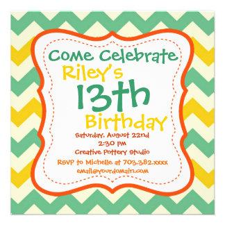 Invitaciones de la fiesta de cumpleaños de Chevron Invitaciones Personalizada
