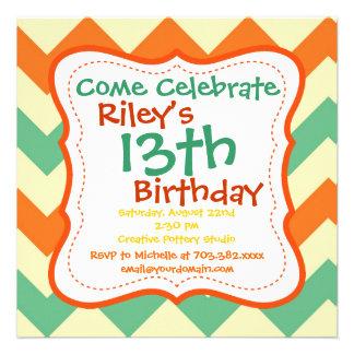 Invitaciones de la fiesta de cumpleaños de Chevron Comunicados Personalizados