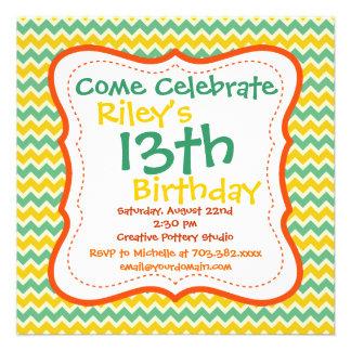 Invitaciones de la fiesta de cumpleaños de Chevron Anuncios