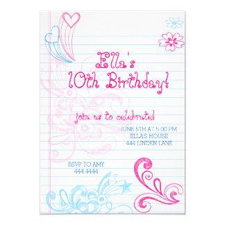 Invitaciones de la fiesta de cumpleaños del invitación 12,7 x 17,8 cm