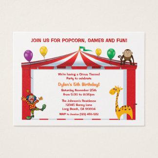 Invitaciones de la fiesta de cumpleaños del circo