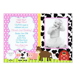 Invitaciones de la fiesta de cumpleaños del corral invitación 12,7 x 17,8 cm
