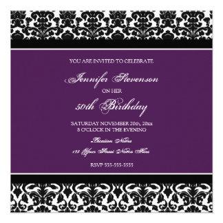 Invitaciones de la fiesta de cumpleaños del damasc anuncio personalizado