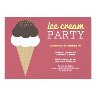 Invitaciones de la fiesta de cumpleaños del helado invitación