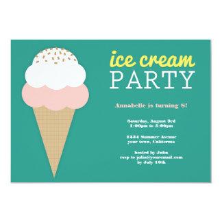 Invitaciones de la fiesta de cumpleaños del helado comunicados personalizados
