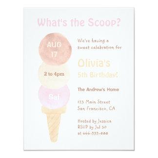 Invitaciones de la fiesta de cumpleaños del helado invitación 10,8 x 13,9 cm