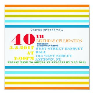 Invitaciones de la fiesta de cumpleaños del jalón invitación 13,3 cm x 13,3cm