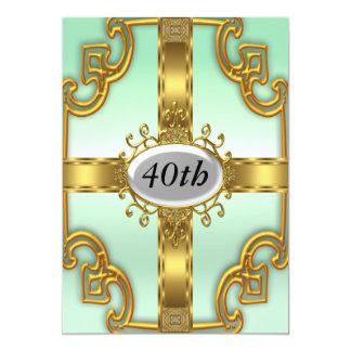 Invitaciones de la fiesta de cumpleaños del oro invitación 12,7 x 17,8 cm
