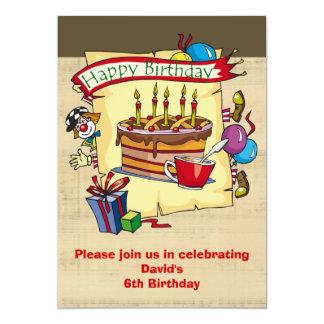 Invitaciones de la fiesta de cumpleaños del payaso invitación 12,7 x 17,8 cm