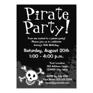 Invitaciones de la fiesta de cumpleaños del pirata invitación 12,7 x 17,8 cm