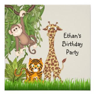 Invitaciones de la fiesta de cumpleaños del safari invitación 13,3 cm x 13,3cm