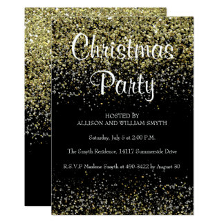 Invitaciones de la fiesta de Navidad del purpurina