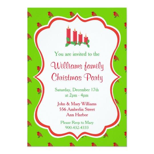 Invitaciones de la fiesta de Navidad - velas Invitación 12,7 X 17,8 Cm