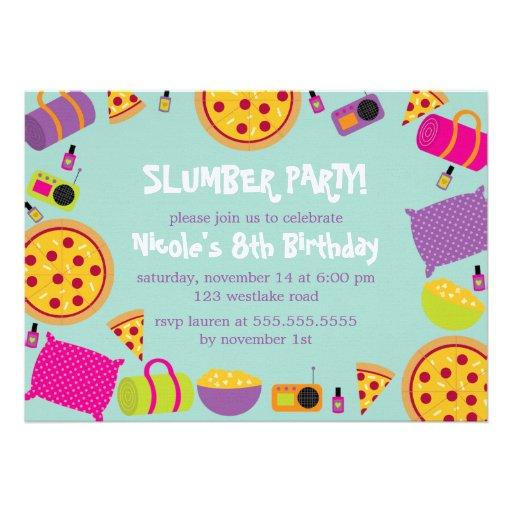 Invitaciones de la fiesta de pijamas invitación personalizada