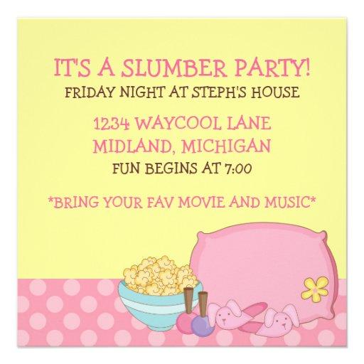 Invitaciones de la fiesta de pijamas de los niños comunicado personal