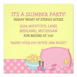 Invitaciones de la fiesta de pijamas de los niños invitación 13,3 cm x 13,3cm