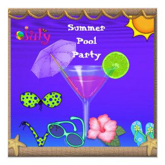 Invitaciones de la fiesta en la piscina de la comunicados personalizados