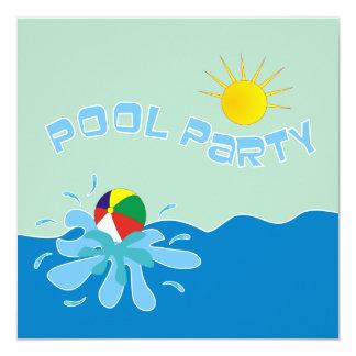 Invitaciones de la fiesta en la piscina de la invitación 13,3 cm x 13,3cm
